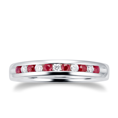 Brilliant Cut Ruby and Diamond Eternity Ring in 18 Carat White Gold