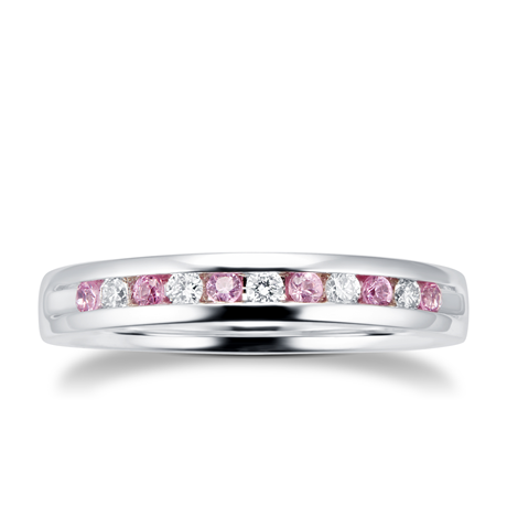 Brilliant Cut Pink Sapphire and Diamond Eternity Ring in 18 Carat White Gold
