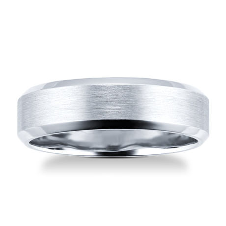 6mm brushed finish gents ring in palladium 950