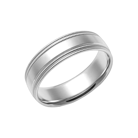 950 Palladium 5mm Double Milgrain Edge Wedding Ring