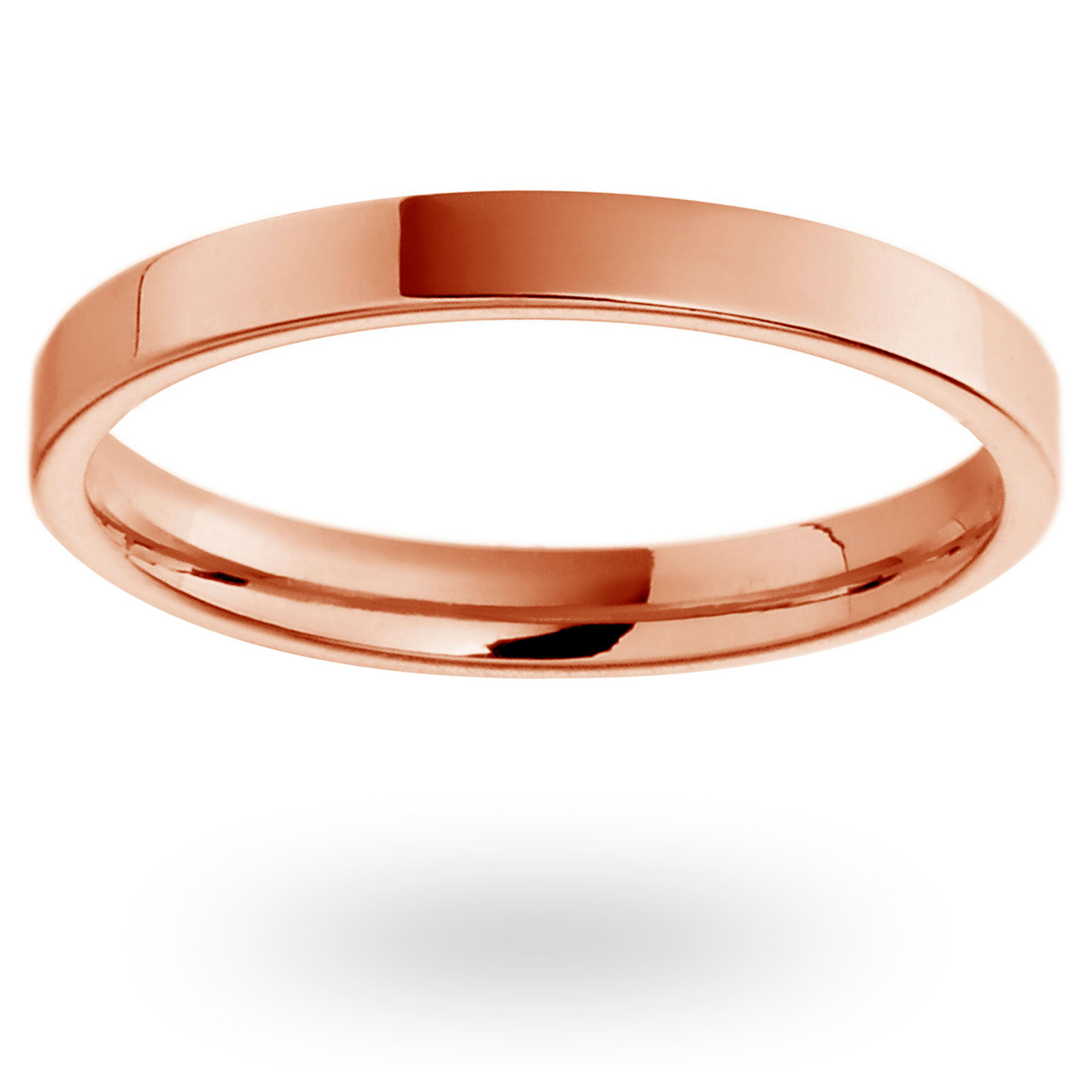 18ct Rose Gold 2mm Heavy Flat Court Wedding Ring