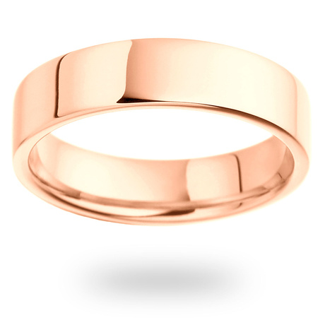 18ct Rose Gold 5mm Heavy Flat Court Wedding Ring