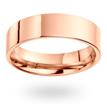 18ct Rose Gold 6mm Heavy Flat Court Wedding Ring