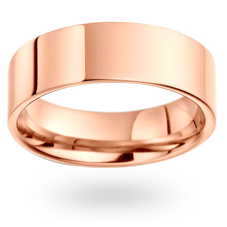18ct Rose Gold 7mm Heavy Flat Court Wedding Ring