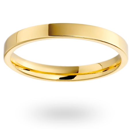 18ct Yellow Gold 2mm Heavy Flat Court Wedding Ring