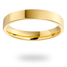 18ct Yellow Gold 3.5mm Heavy Flat Court Wedding Ring