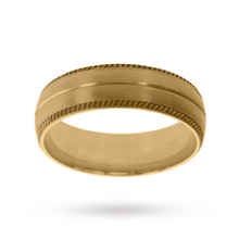 5mm Slight Court Heavy Milgrain Edge Wedding Ring In 18 Carat Yellow Gold