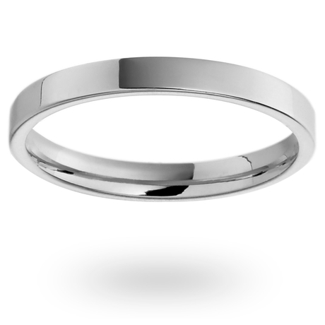 18ct White Gold 2mm Heavy Flat Court Wedding Ring