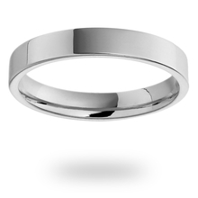 18ct White Gold 3.5mm Heavy Flat Court Wedding Ring