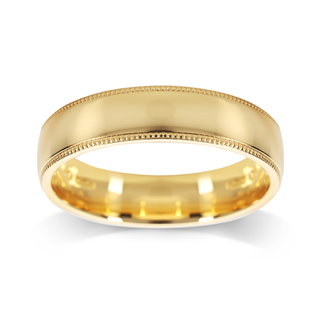 18ct Yellow Gold 5mm Milgrain Edge Wedding Ring