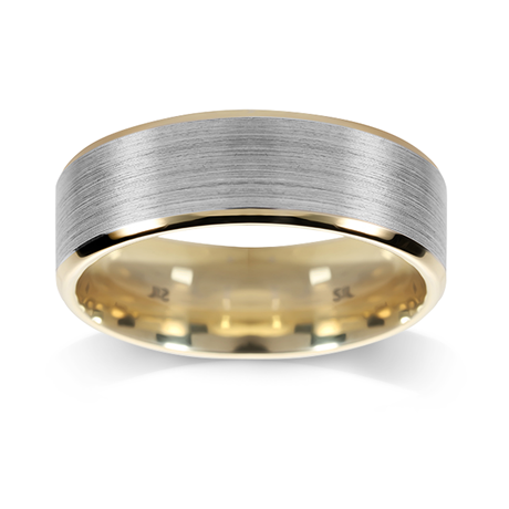 18ct Bi-Colour Gold 6mm Bevelled Edge Wedding Ring