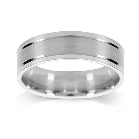 18ct White Gold 6mm Flat Top with Polished Edge Wedding Ring