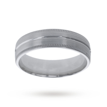 5mm Slight Court Heavy Milgrain Edge Wedding Ring In 18 Carat White Gold