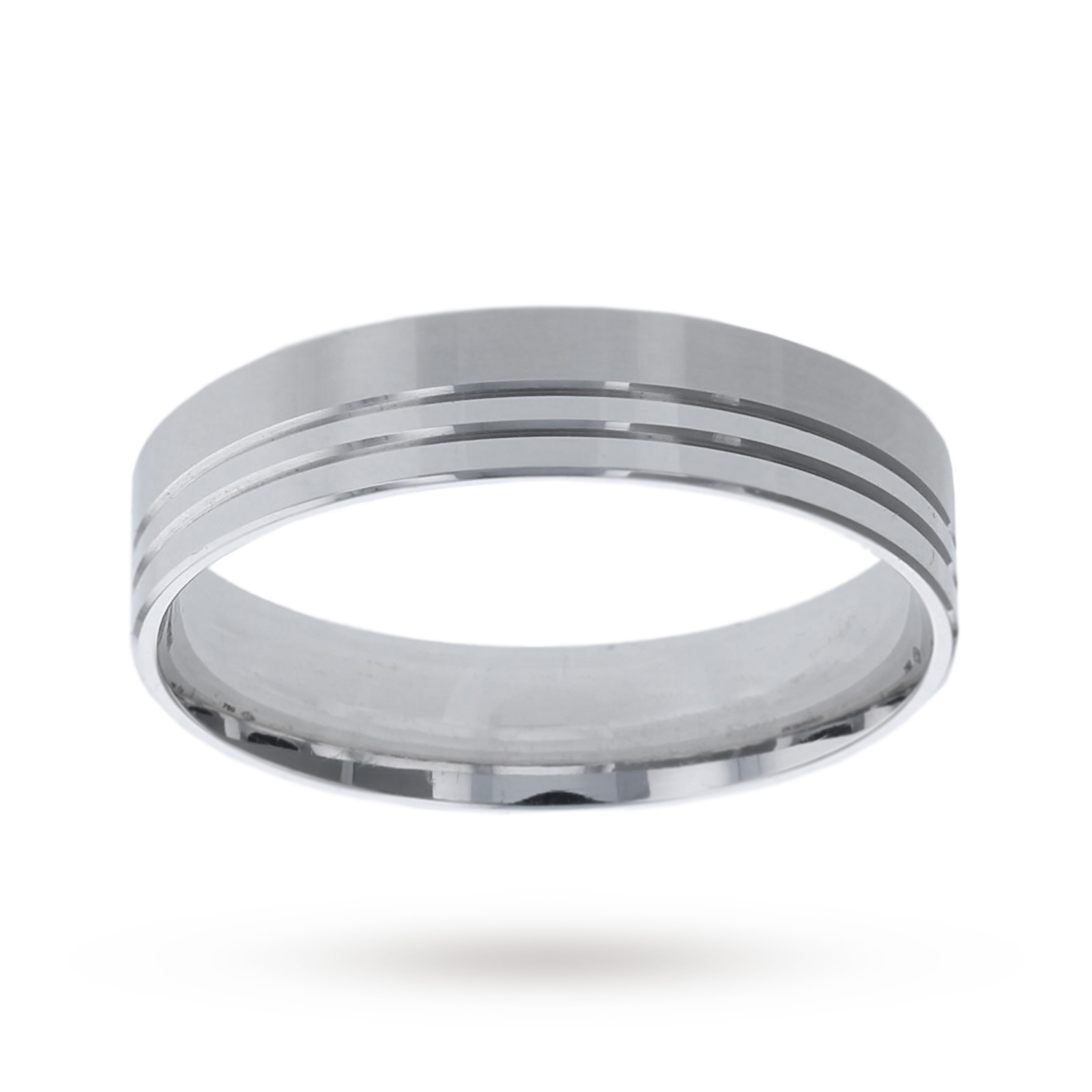 6mm gents heavy flat band in 18 carat white gold - Ring Size Z3