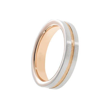 Mappin & Webb 6mm 950 Palladium & Rose Gold Wedding Ring