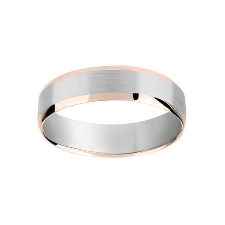 6mm brushed gents ring in 950 palladium and 18ct Rose Gold
