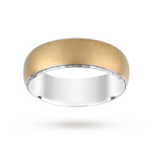 Silver and 9 Carat Gold Bonded Plain Polish Wedding Ring 7mm
