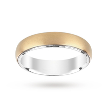 Silver and 9 Carat Gold Bonded Plain Matt Wedding Ring 5mm
