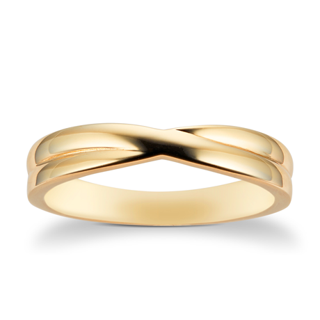9ct Yellow Gold 3.6mm Crossover Wedding Ring