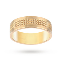 9 Carat Yellow Gold 6mm Gents Heavy Flat Court 3 Row Fancy Wedding Ring