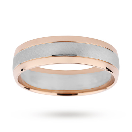 9ct White Gold & Rose Gold two tone wedding Ring