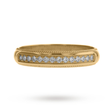Brilliant Cut Diamond Set Milgrain Half Eternity Ring in 18 Carat Yellow Gold