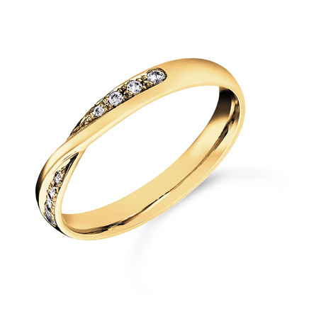 Mappin & Webb 18ct Yellow Gold 0.07cttw Diamond Twist Wedding Ring