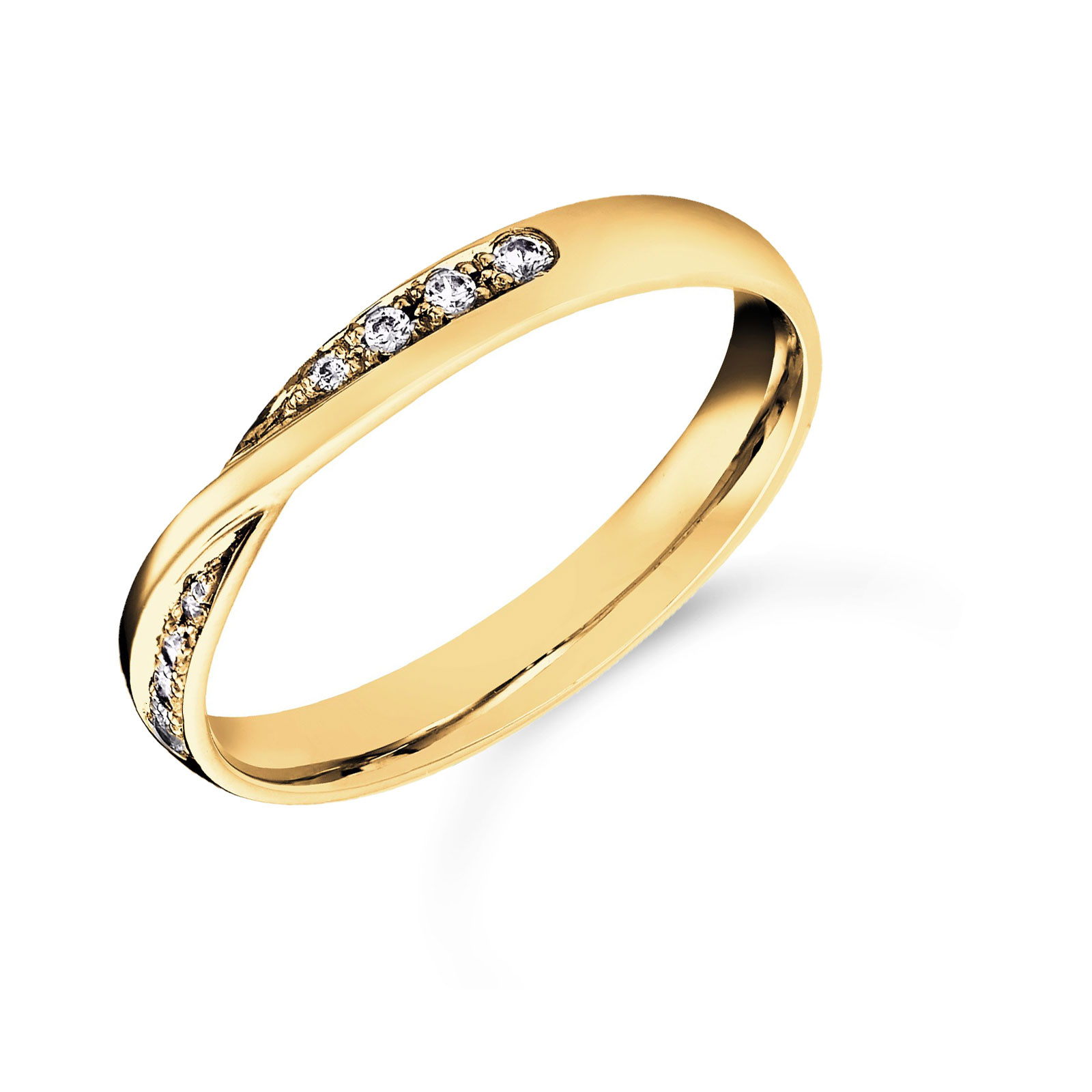 18ct Yellow Gold 0.07cttw Diamond Twist Wedding Ring