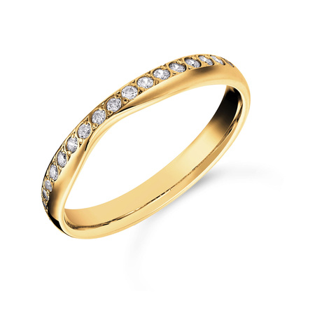Mappin & Webb 18ct Yellow Gold 0.20cttw Diamond Shaped Wedding Ring