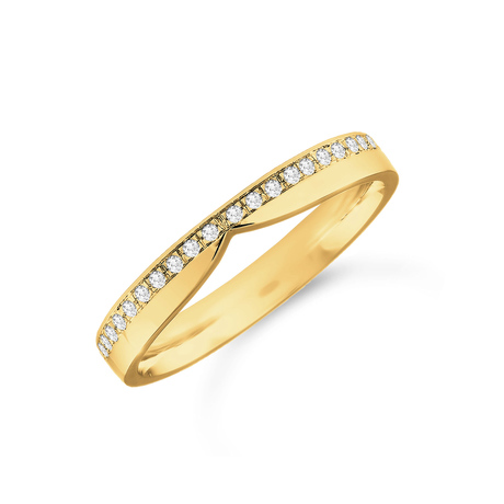 18ct Yellow Gold 0.12cttw Diamond Shaped Wedding Ring