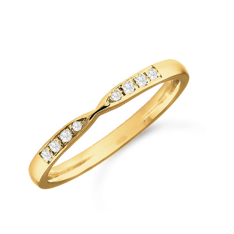 Mappin & Webb 18ct Yellow Gold 0.05cttw Diamond Shaped Wedding Ring