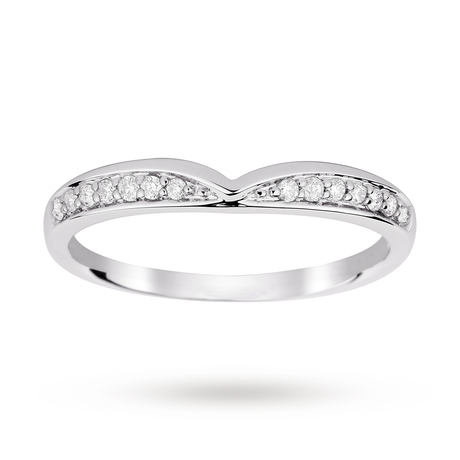 9ct White Gold 0.12 Total Carat Weight Diamond Set Shaped Band