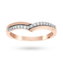 9ct Rose Gold 0.12 Total Carat Weight Diamond Set Shaped Band