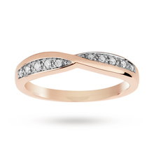 9ct Rose Gold 0.09 Total Carat Weight Diamond Set Shaped Band