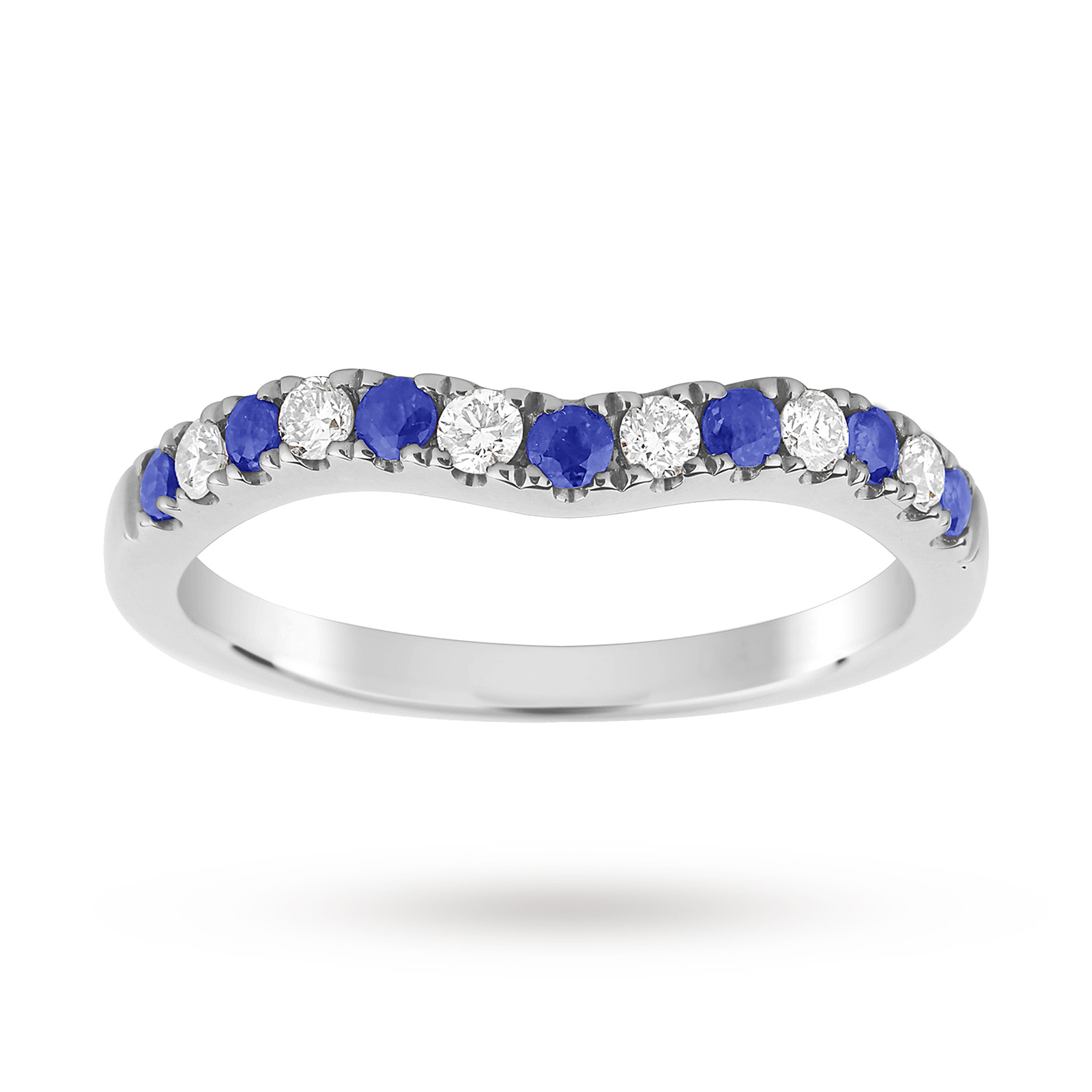 9ct White Gold Sapphire and 0.18 Total Carat Weight Diamond Shaped Wedding Ring