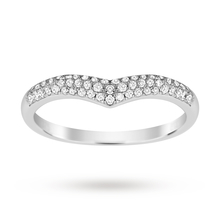 9ct White Gold 0.25 Total Carat Weight Pave Diamond Shaped Band