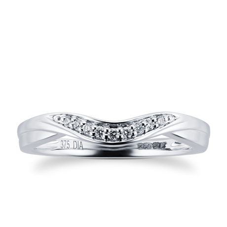 9ct White Gold 0.05 Total Carat Weight Diamond Wedding Band