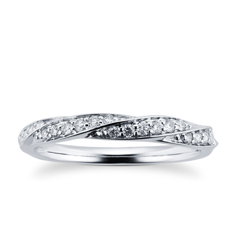 9ct White Gold 0.19ct Twist Style Diamond Wedding Ring
