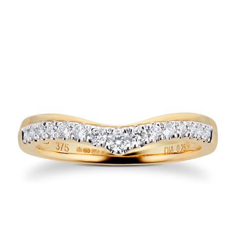 9ct Yellow Gold 0.25ct Claw Set Diamond Wedding Ring