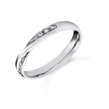 Platinum 0.07cttw Diamond Twist Wedding Ring