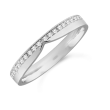 Platinum 0.12cttw Diamond Shaped Wedding Ring