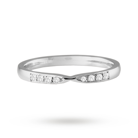 Platinum 0.05cttw Diamond Shaped Wedding Ring