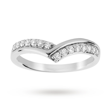 Platinum 0.25 Total Carat Weight Diamond Set Shaped Band