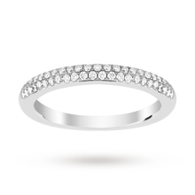 Platinum 0.25 Total Carat Weight Pave Diamond Set Band