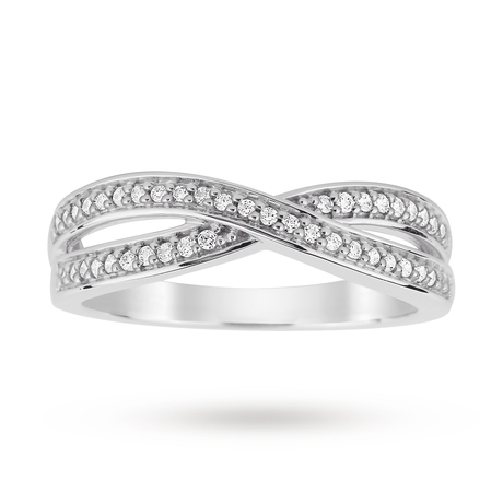 Platinum 0.20 Total Carat Weight Diamond Crossover Wedding Band