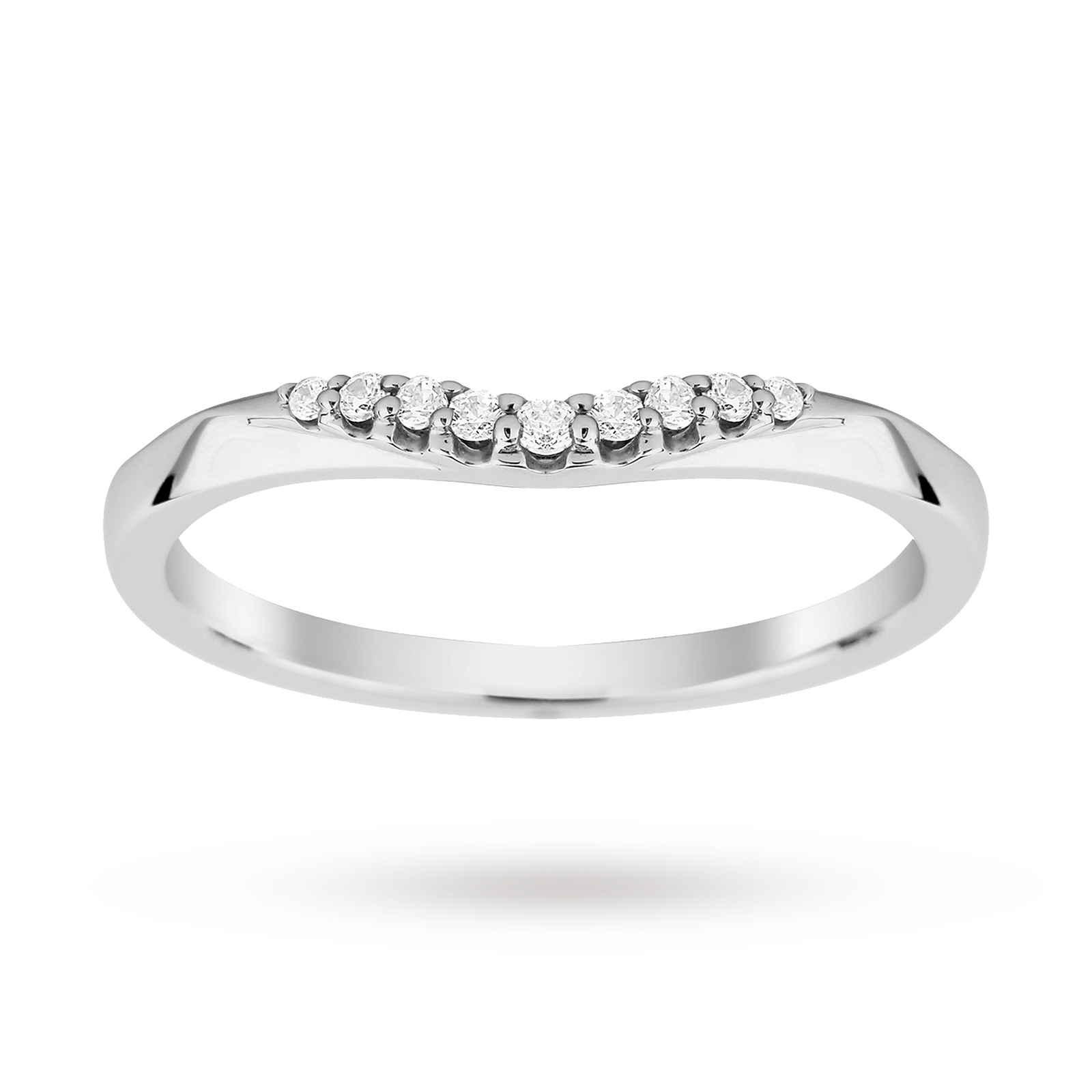 Platinum 0.10 Total Carat Weight Diamond Wedding Band - Ring Size J