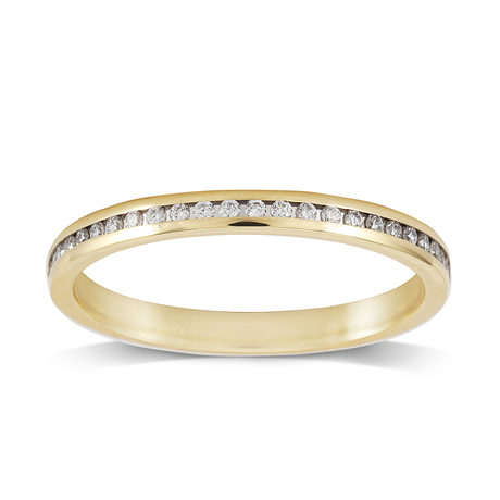 18ct Yellow Gold 0.12ct Round Brilliant Cut Channel Set Wedding Ring