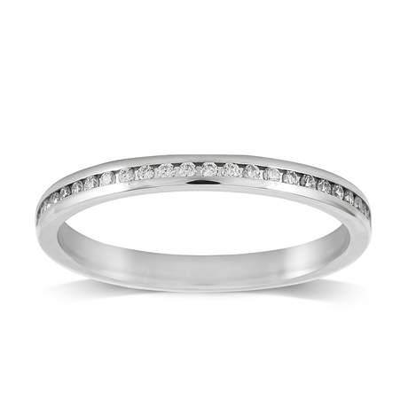 Platinum 0.12ct Round Brilliant Cut Channel Set Wedding Ring