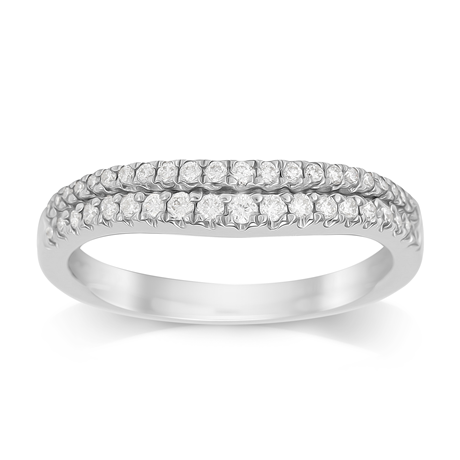 Platinum 0.33ct Double Row Diamond Wedding Ring