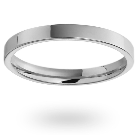 Platinum 2mm Heavy Flat Court Wedding Ring